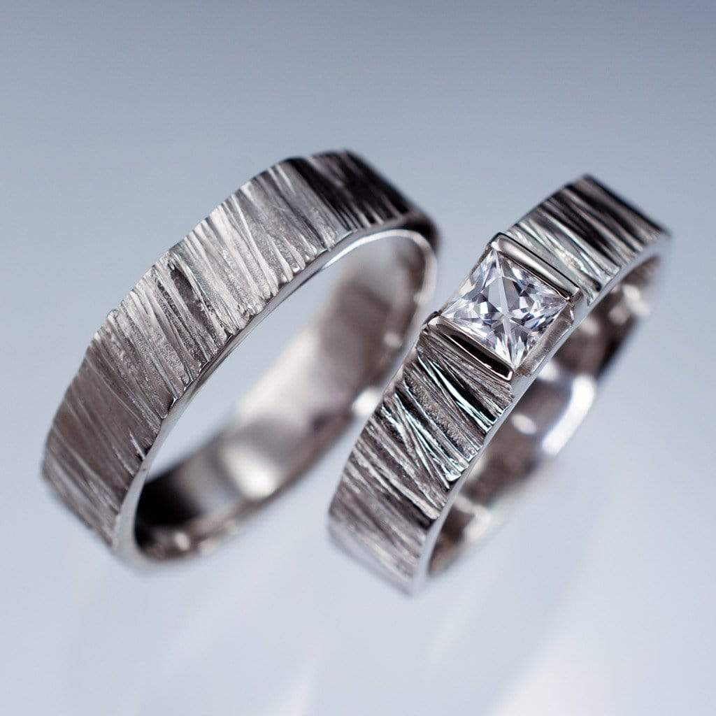 saw cut textured wedding ring set with princess cut white sapphire - Princess Cut Wedding Ring Set
