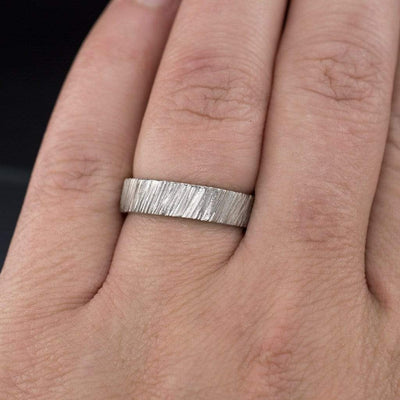 Wide Saw Cut Texture Wedding Band