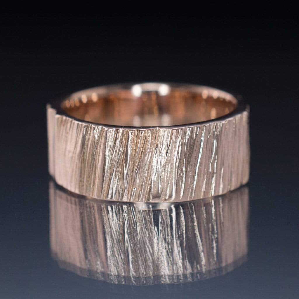 Wide Saw Cut Texture Wedding Band in Rose Gold - by Nodeform