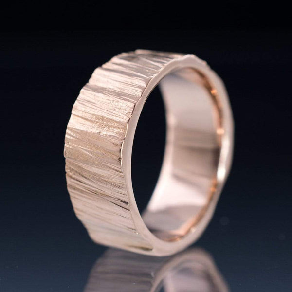 Wide Saw Cut Texture Wedding Band in Yellow Gold or Rose Gold