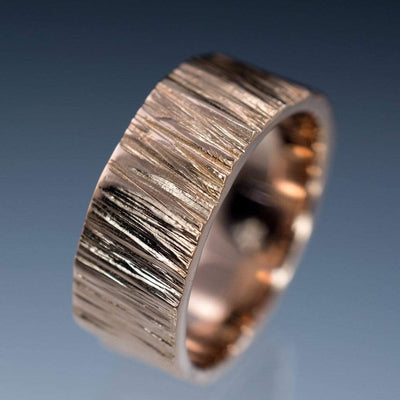 Wide Saw Cut Texture Wedding Band in Rose Gold