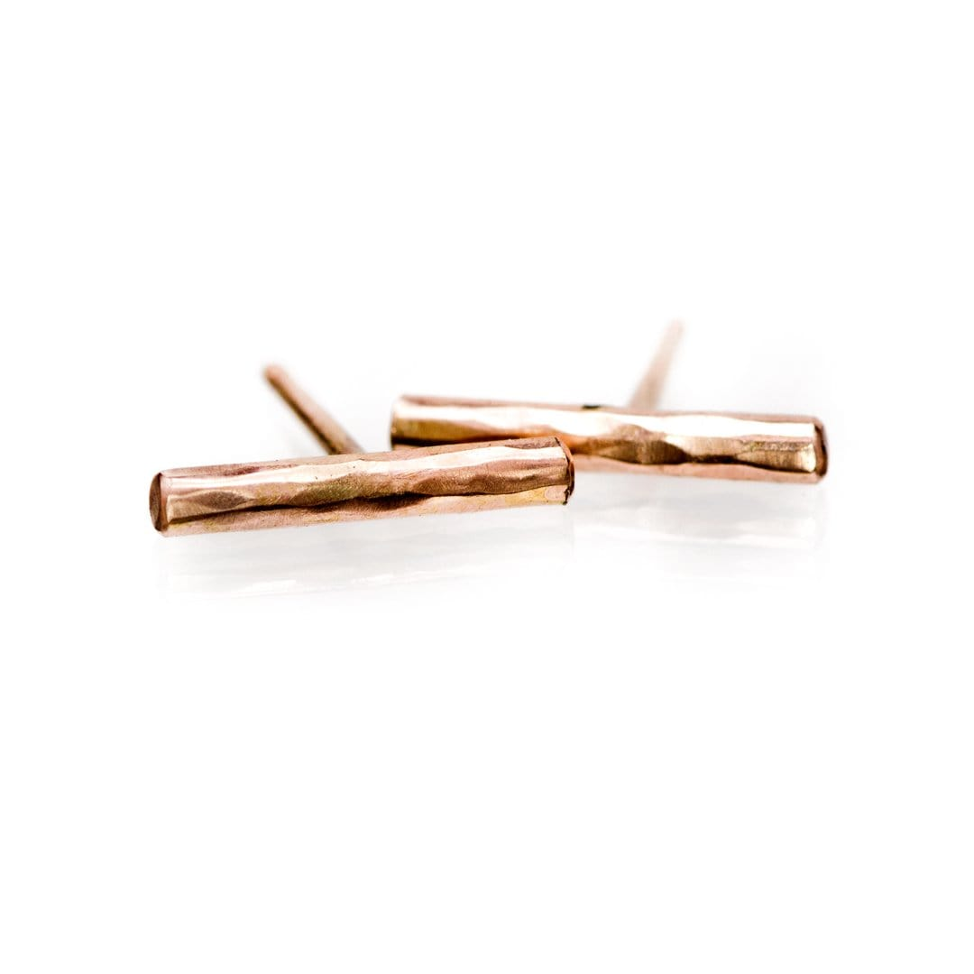 Short Hammered 14k Rose Gold Bar Studs Earrings, Ready to Ship