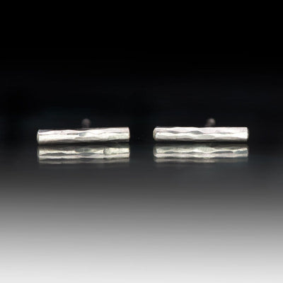Simple Hammered Sterling Silver Bar Studs Earrings, Ready to Ship