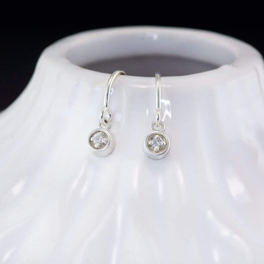 Diamond Dangle Sterling Silver Cable Chain Threader Earrings