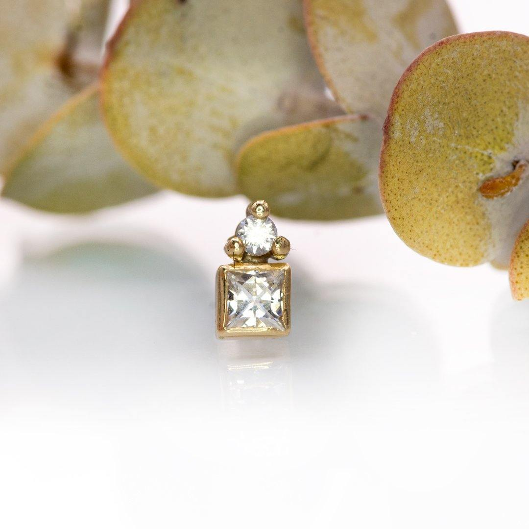 Princess Moissanite Cluster 14k Yellow Gold Stud Earring (Single), {Ready to Ship} - Nodeform