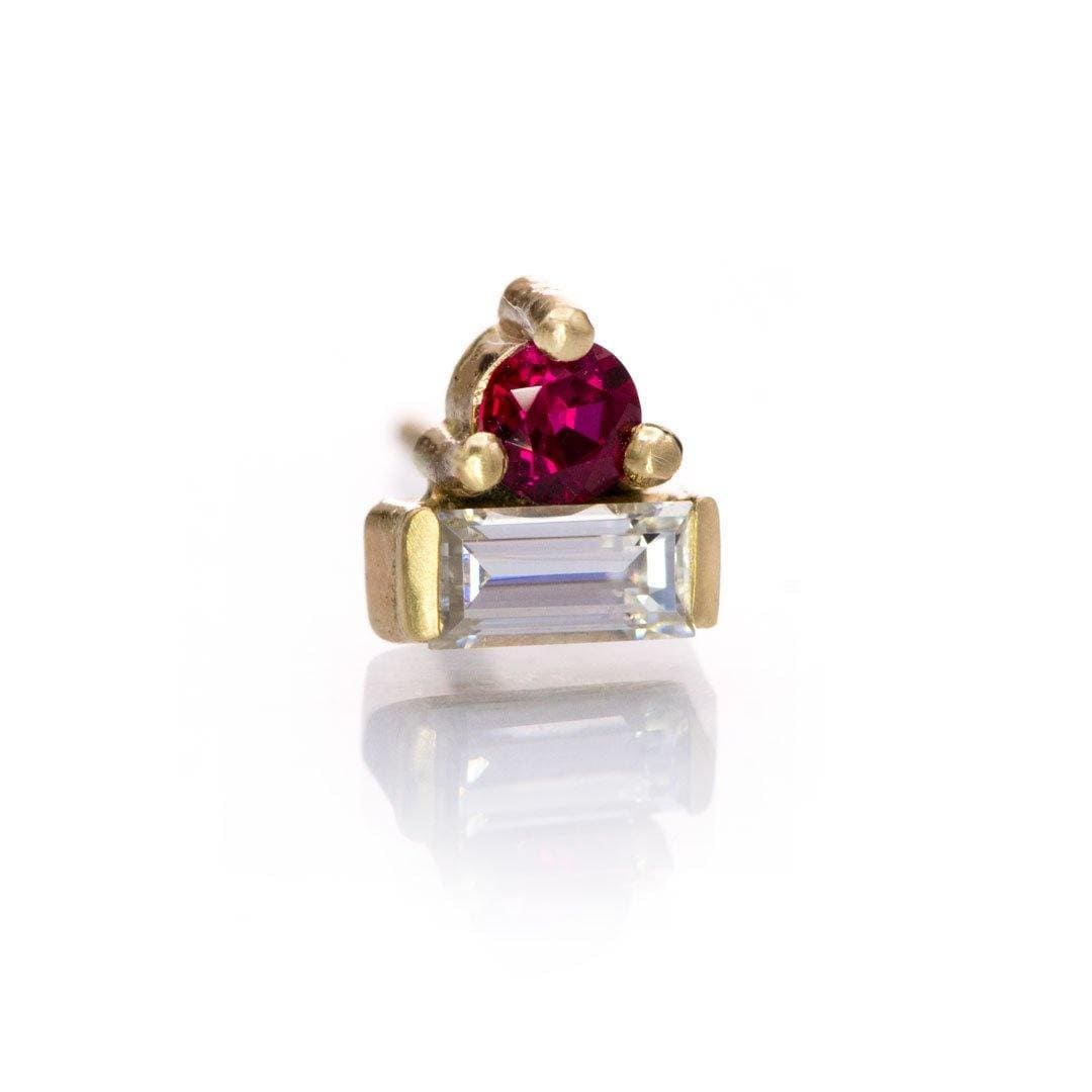 Baguette Moissanite and Chatham Ruby Cluster 14k Yellow Gold Stud Earring (Single), Ready to Ship