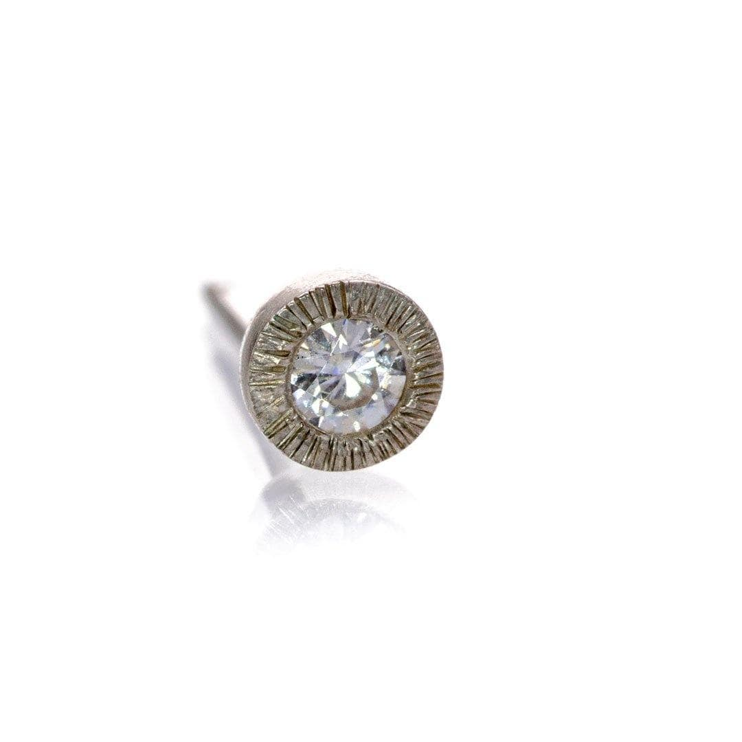 Moissanite Tiny Textured Sterling Silver Stud Earring (Single), {Ready to Ship}