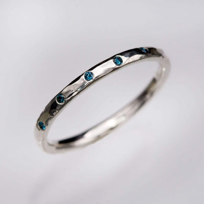 Skinny Teal Diamond Wedding Ring Thin Hammered Texture Wedding Band