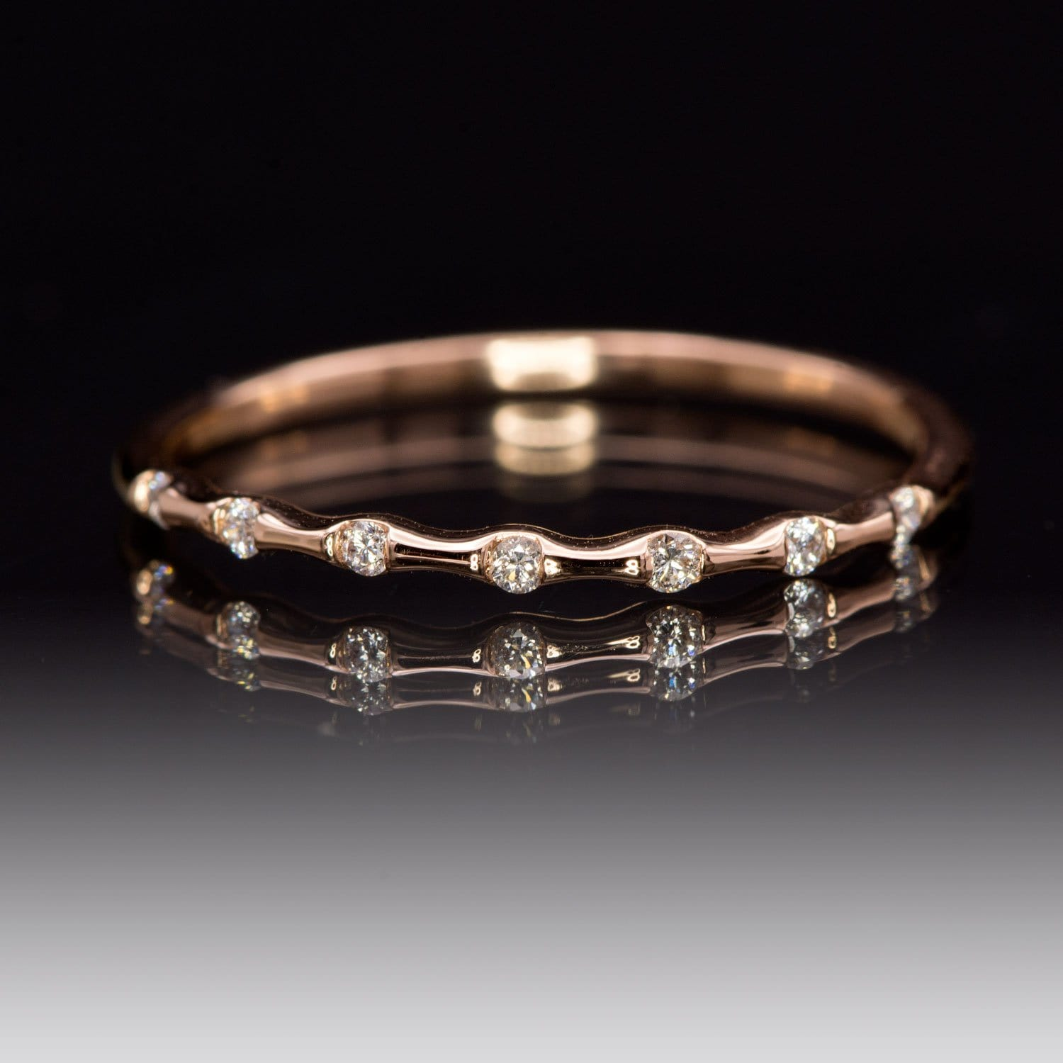 Sadie Band - Skinny Anniversary Band, Bar Set Diamond Half Eternity Stacking Wedding Ring