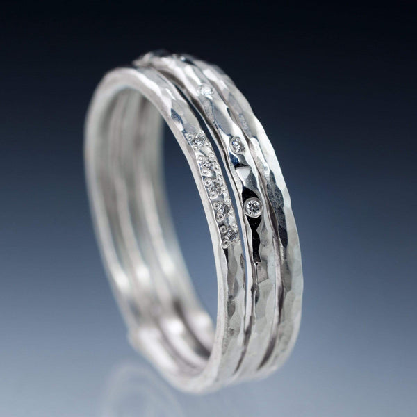 diamond hammered stacking rings wedding bands