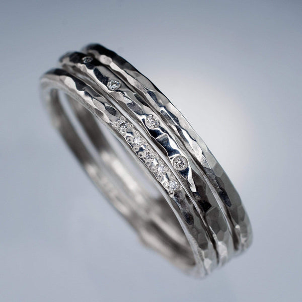 diamond hammered stacking rings stocking stuffers
