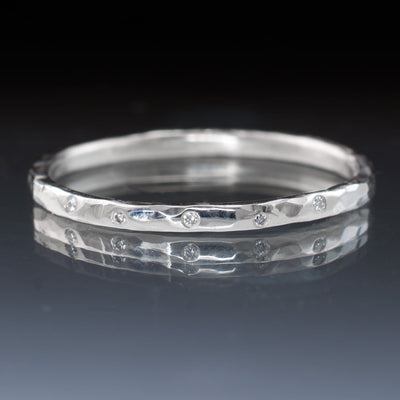 Thin White Sapphire Wedding Ring Skinny Hammered Texture Wedding Band