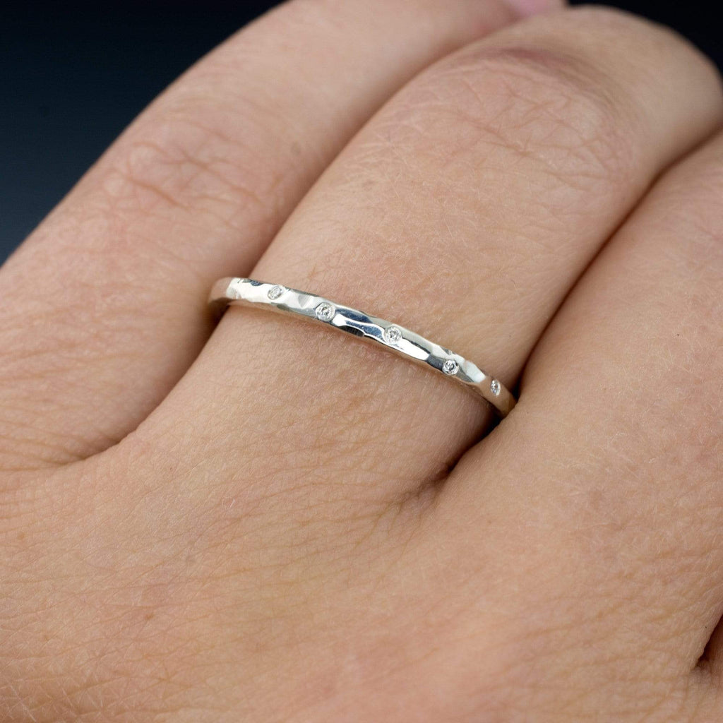 Thin Diamond Wedding Ring Skinny Hammered Texture Band