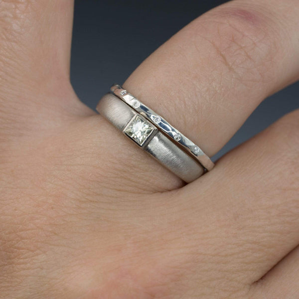 Thin Diamond Wedding Ring Skinny Hammered Texture Wedding Band - by Nodeform