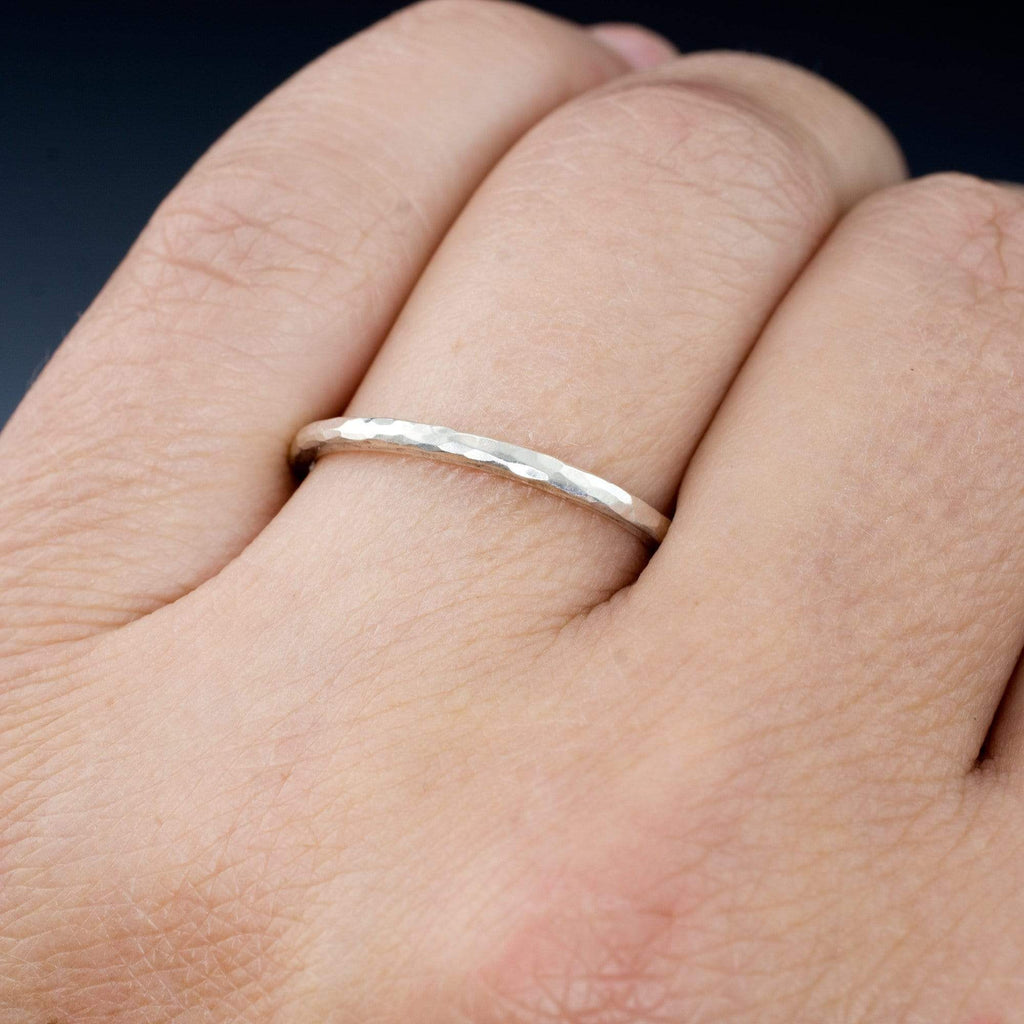 Skinny Hammered Texture Thin Gold Wedding Band