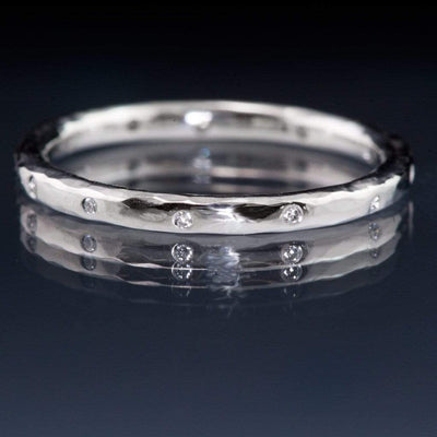 Thin White Sapphire Wedding Ring Skinny Hammered Texture Wedding Band - by Nodeform