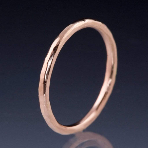 Skinny Hammered Texture Thin Wedding Band