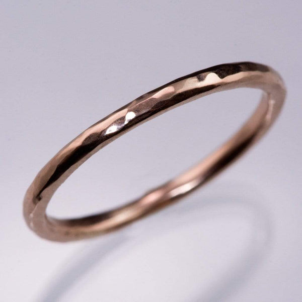 Skinny Hammered Texture Thin Wedding Band - by Nodeform
