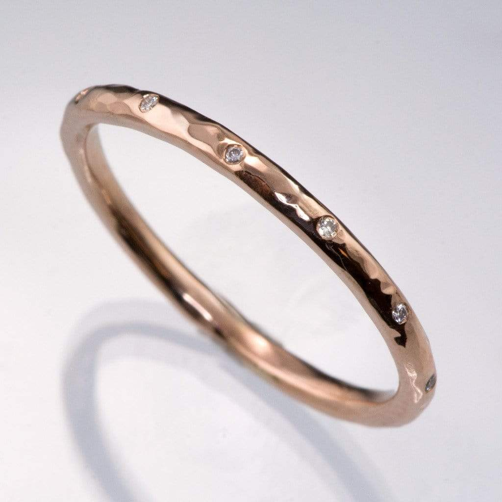 Thin Diamond Wedding Ring Skinny Hammered Texture Gold Band