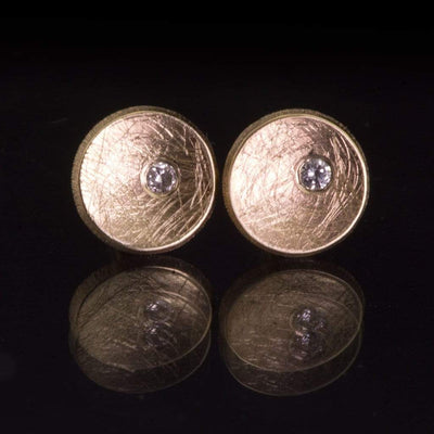 Small Concave Round Simple Diamond Studs Earrings