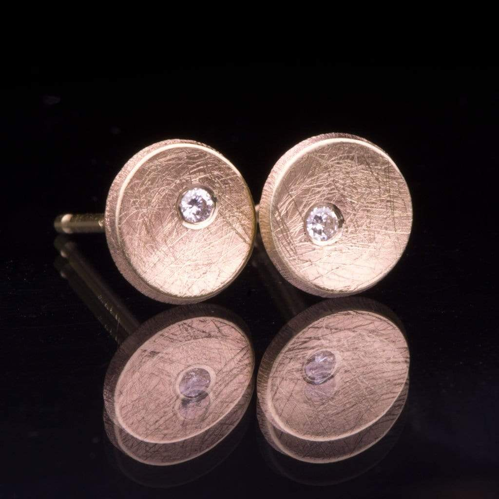 Small 14k Yellow Gold Concave Round Simple Diamond Studs Earrings, Ready to Ship
