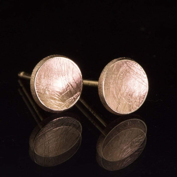 Small Concave Round Simple Gold Studs Earrings - by Nodeform