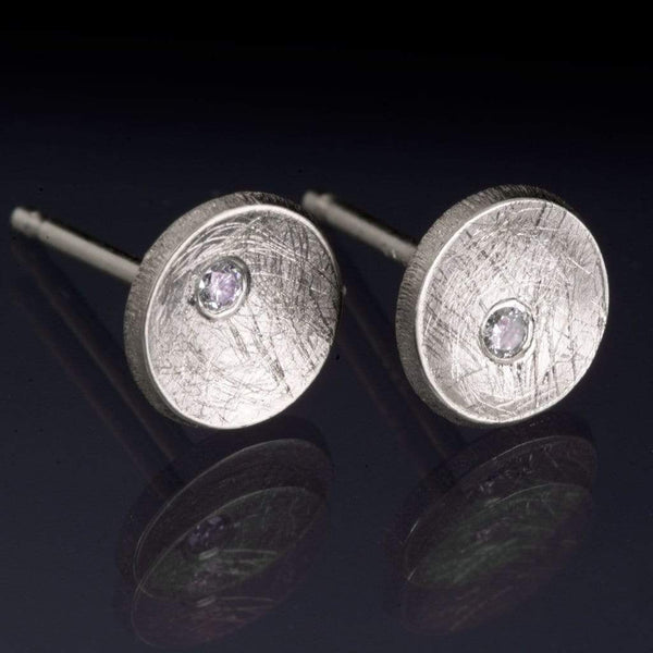 Small Concave Round Simple Diamond Studs Earrings - by Nodeform
