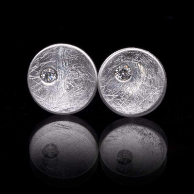Small Concave Round Simple Moissanite Sterling Silver Studs Earrings