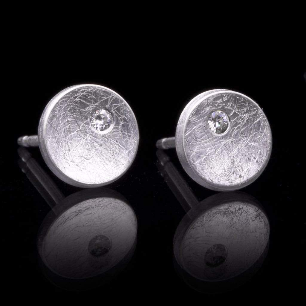 Small Concave Round Simple Moissanite Sterling Silver Studs Earrings - by Nodeform