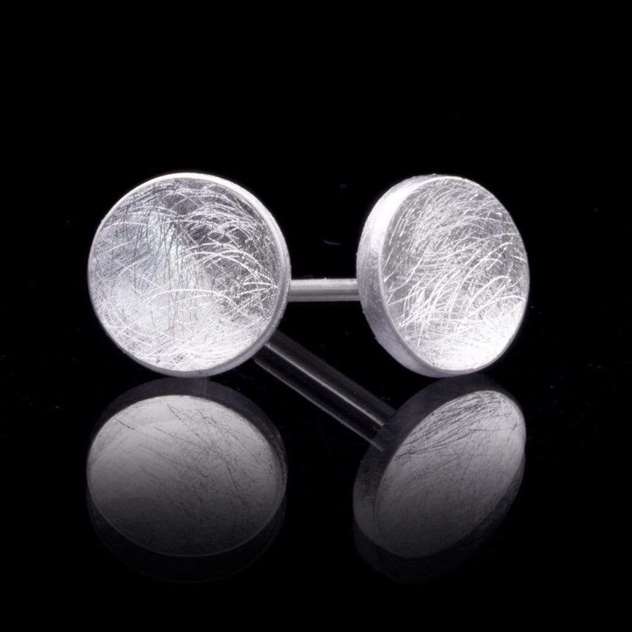 Small Concave Round Simple Sterling Silver Studs Earrings