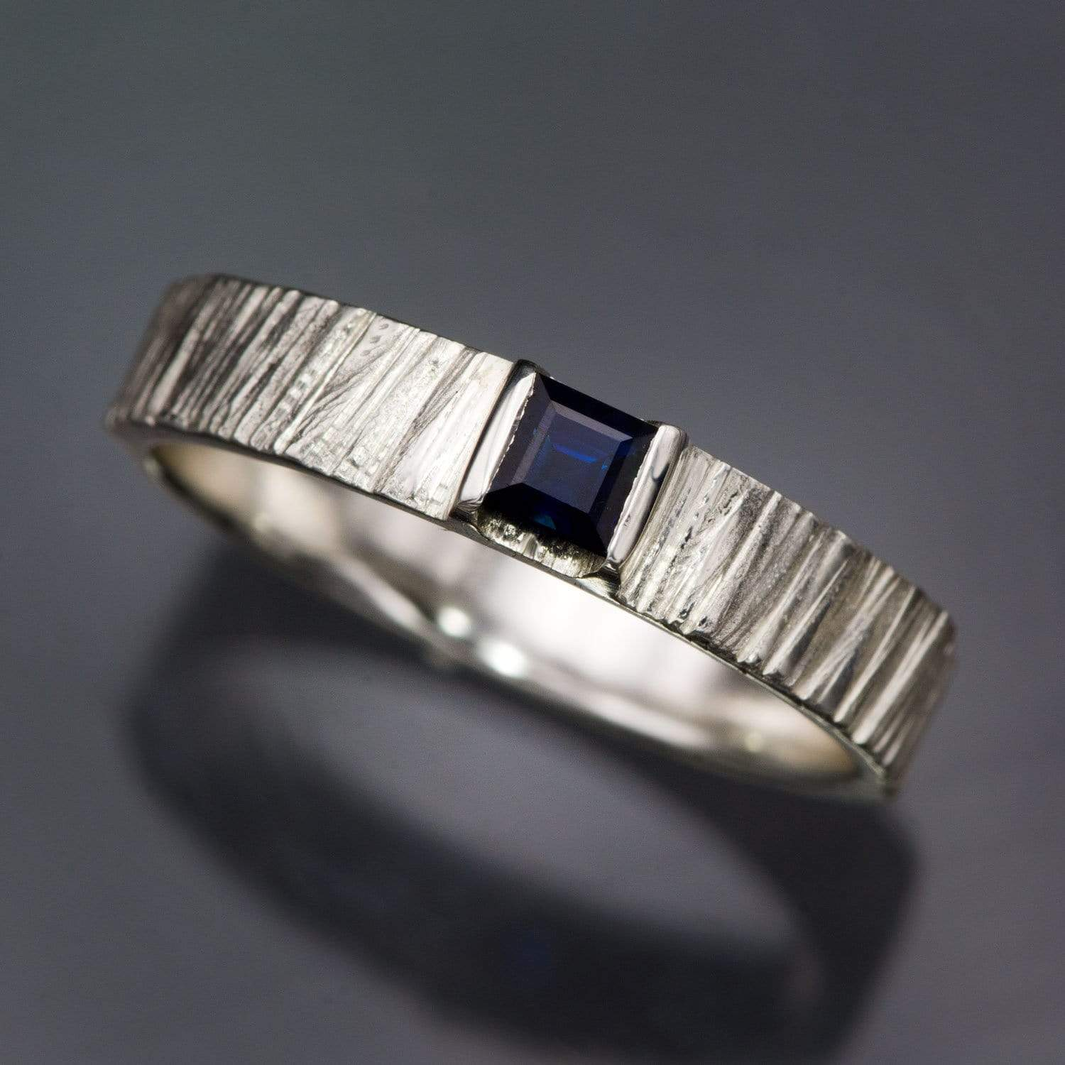 Princess Square Blue Sapphire Saw Cut Textured Modern Solitaire Wedding or Engagement Ring