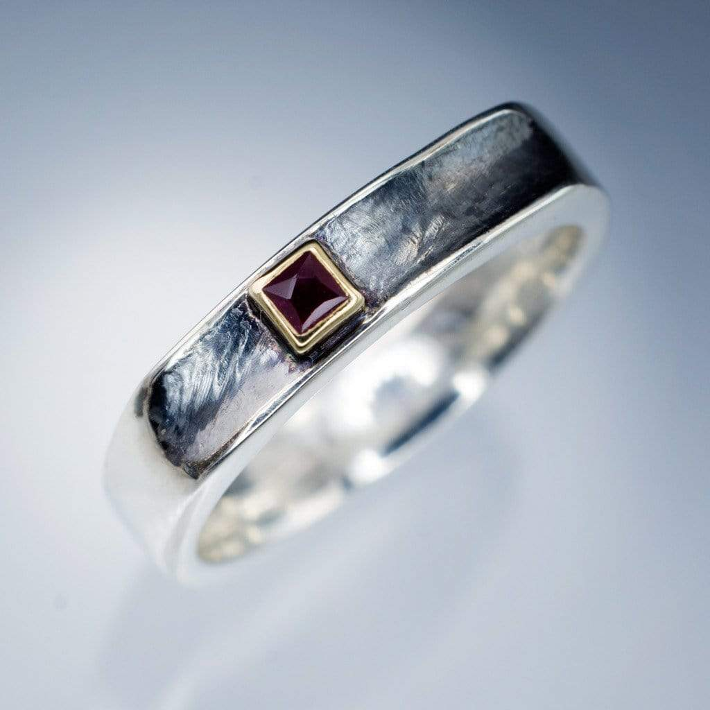 princess cut ruby bezel set grooved square one wedding ring by nodeform - Square Wedding Ring