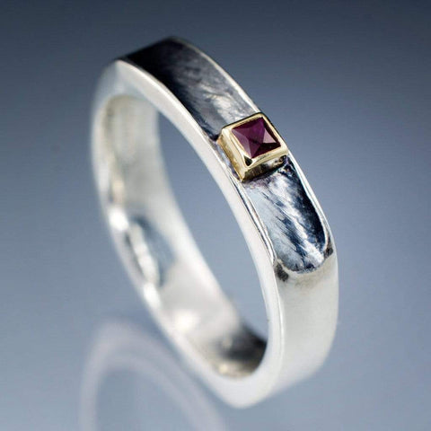 Princess Cut Ruby Bezel Set Grooved Square One Wedding Ring - by Nodeform