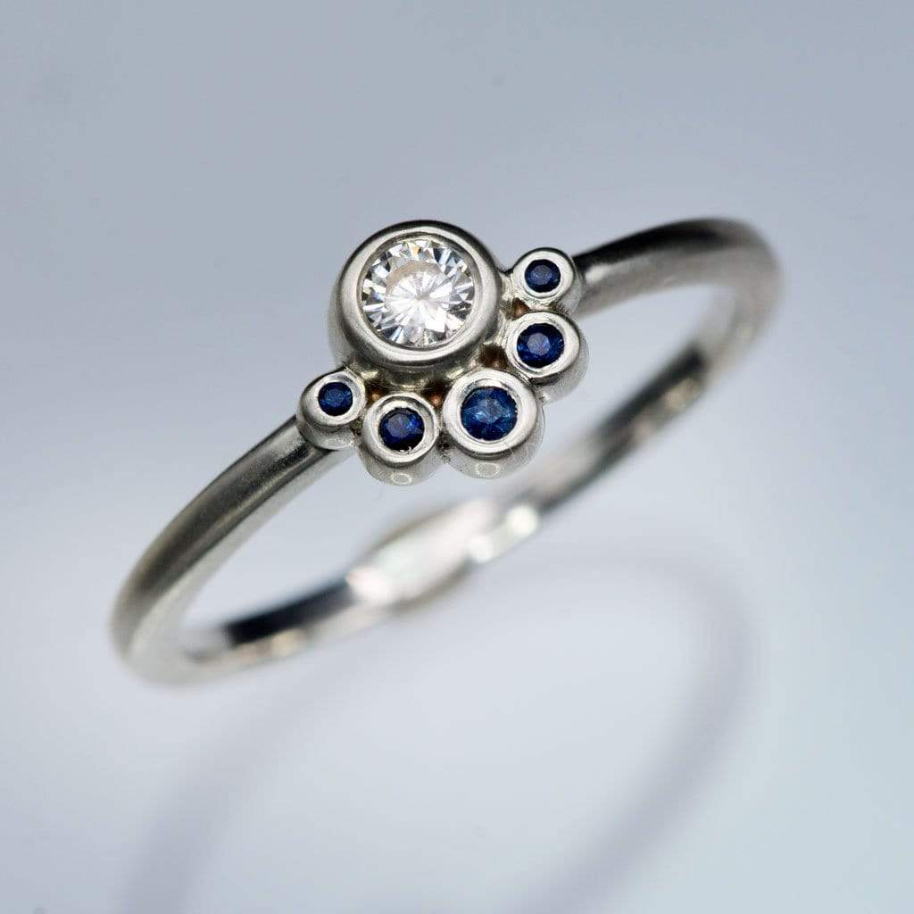 Half Halo Stacking Ring, Bezel Set Moissanite & Australian Blue Sapphire Accents Ready to Ship