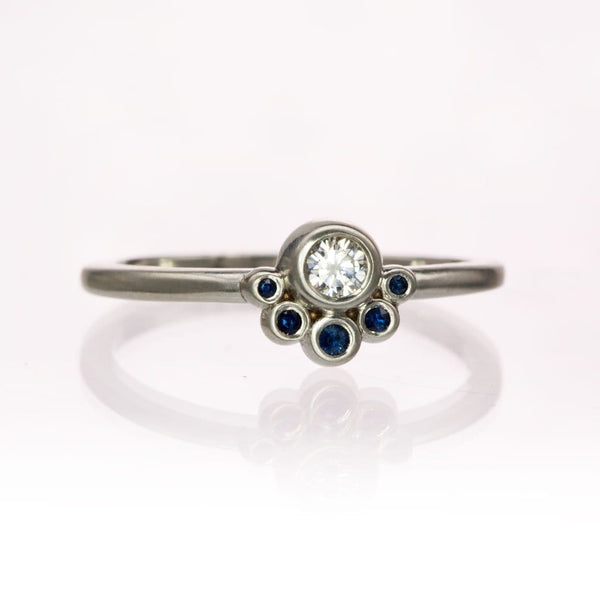 Half Halo Stacking Ring, Bezel set Supernova Moissanite & Fair Trade Australian Blue Sapphire Accents Ready to Ship