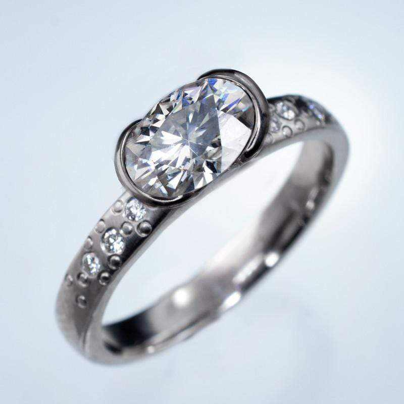 Oval Moissanite Ring Half Bezel Star Dust Engagement Ring
