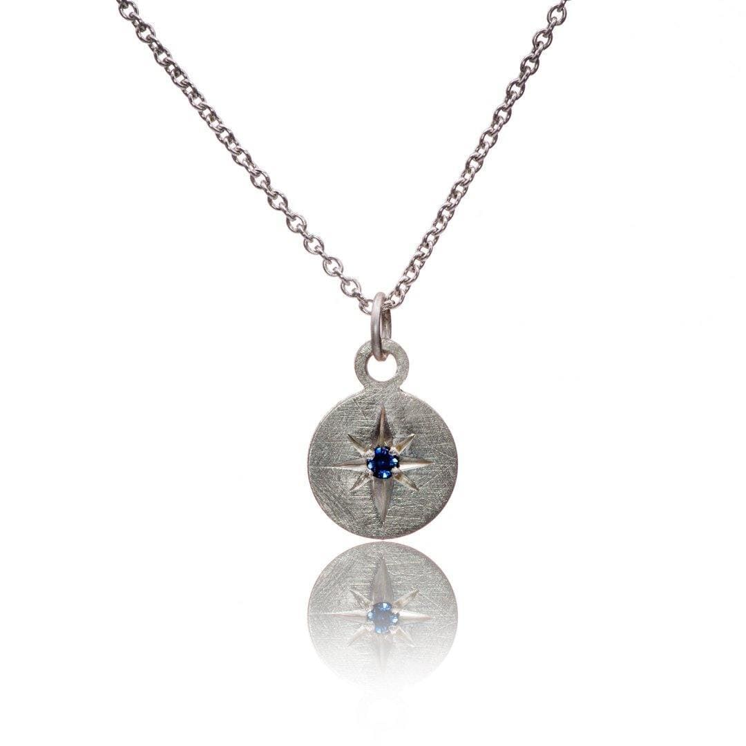 Round Sterling Silver Pendant Necklace with Star Set Blue Sapphire, Ready to Ship
