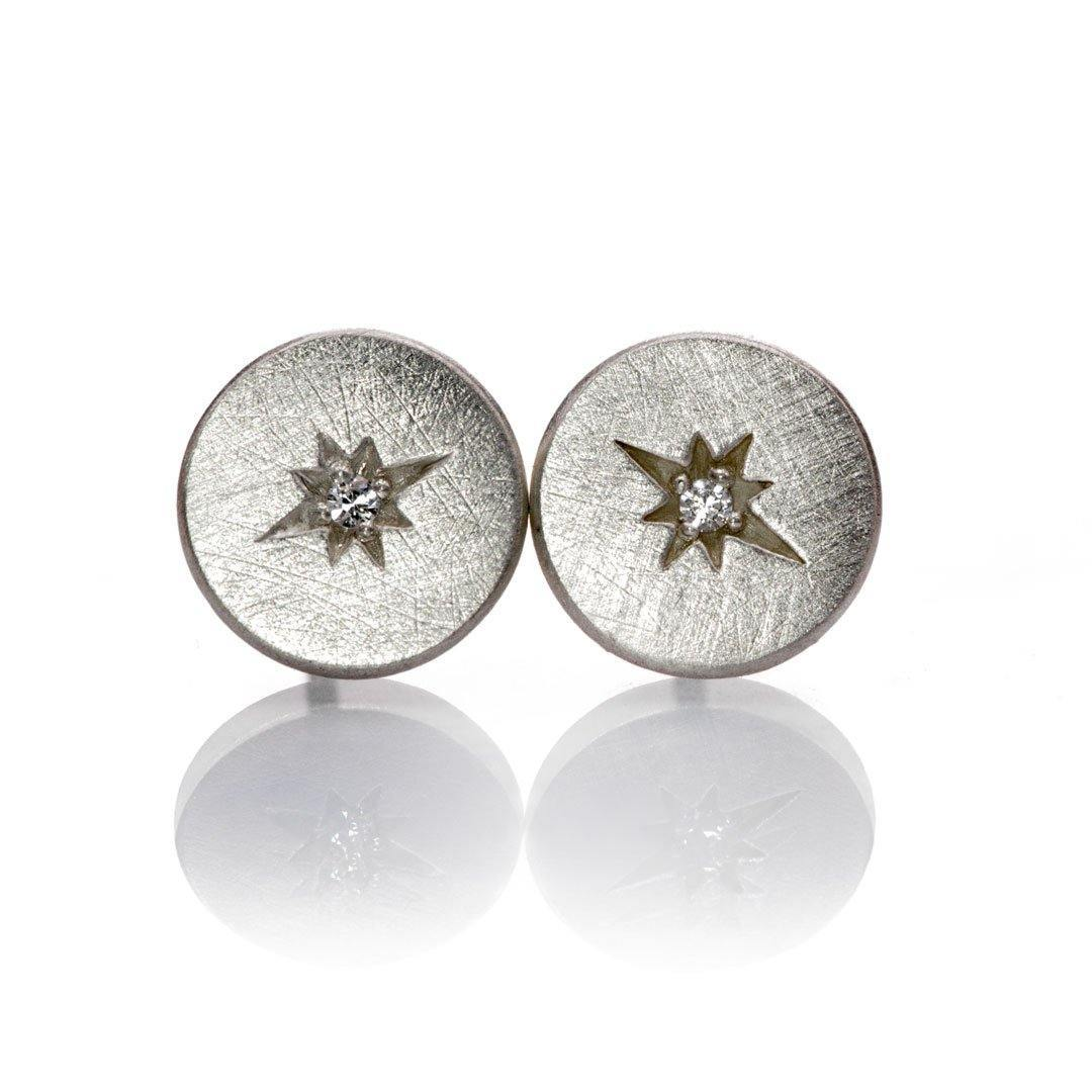 Moissanite Star Set Round Sterling Silver Disk Stud Earrings, Ready to Ship