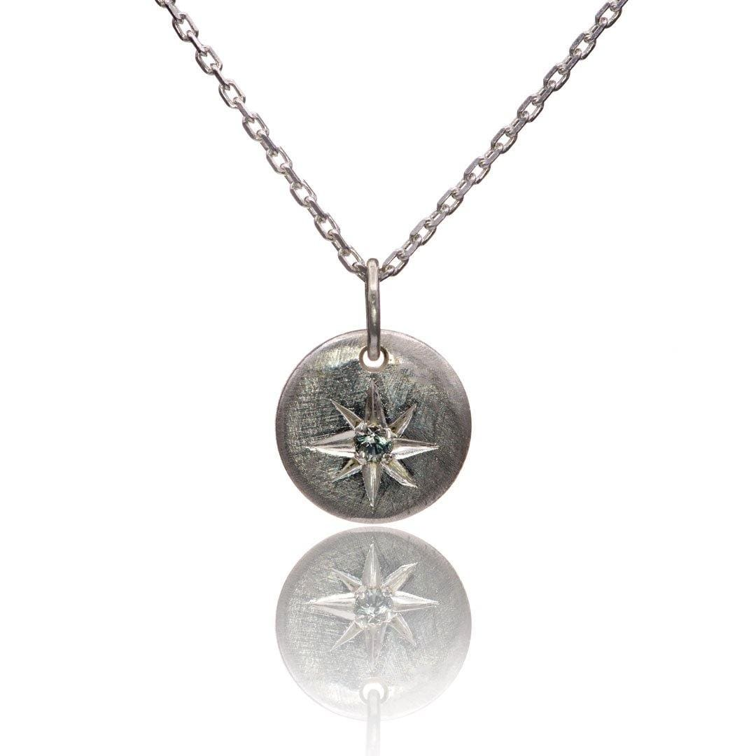 Tiny Round Sterling Silver Pendant Necklace with Star Set Pastel Blue-green Montana Sapphire, Ready to Ship