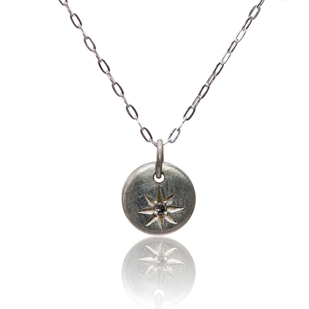 Tiny Round Sterling Silver Pendant Necklace with Star Set Gray Diamond, Ready to Ship