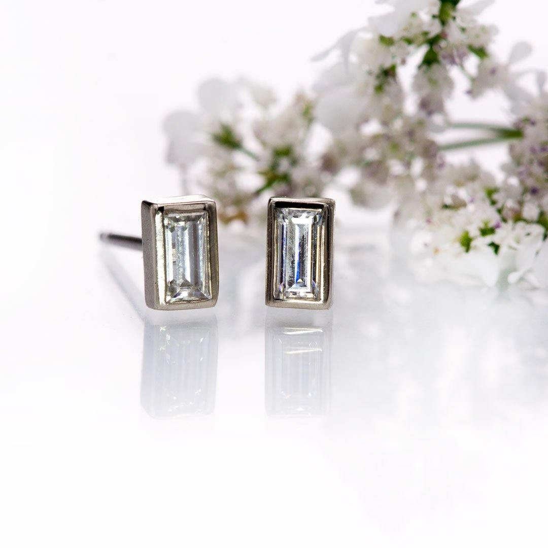 Simple Baguette Lab-Grown Diamond Bezel Set Stud Earrings
