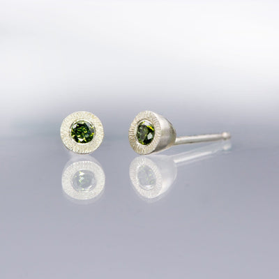 Green Diamond Tiny Textured Sterling Silver Stud Earrings, Ready to Ship