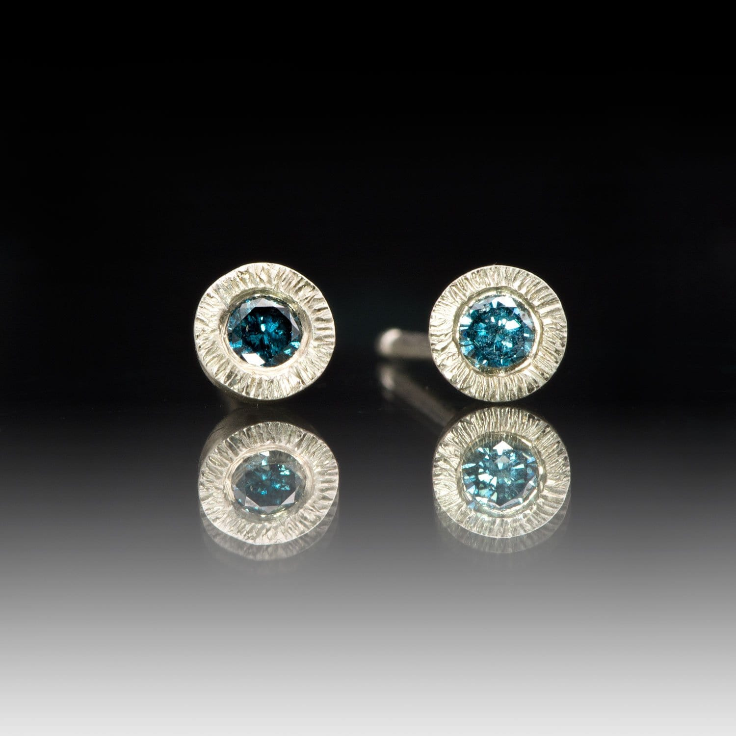 Teal Blue Damond Tiny Textured Sterling Silver Stud Earrings, Ready to Ship