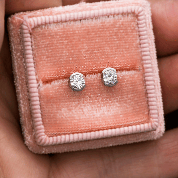 Supernova Round Moissanite Palladium Half Bezel Studs Earrings, Ready To Ship