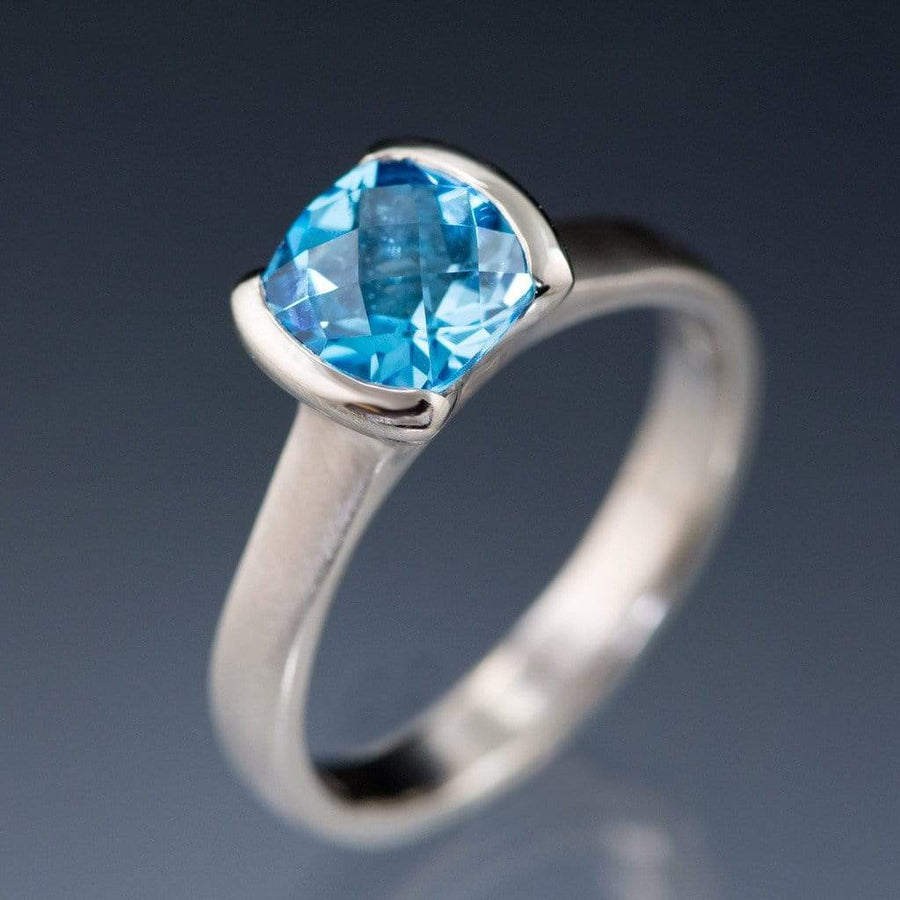 Cushion London or Swiss Blue Topaz Half Bezel Statement Ring