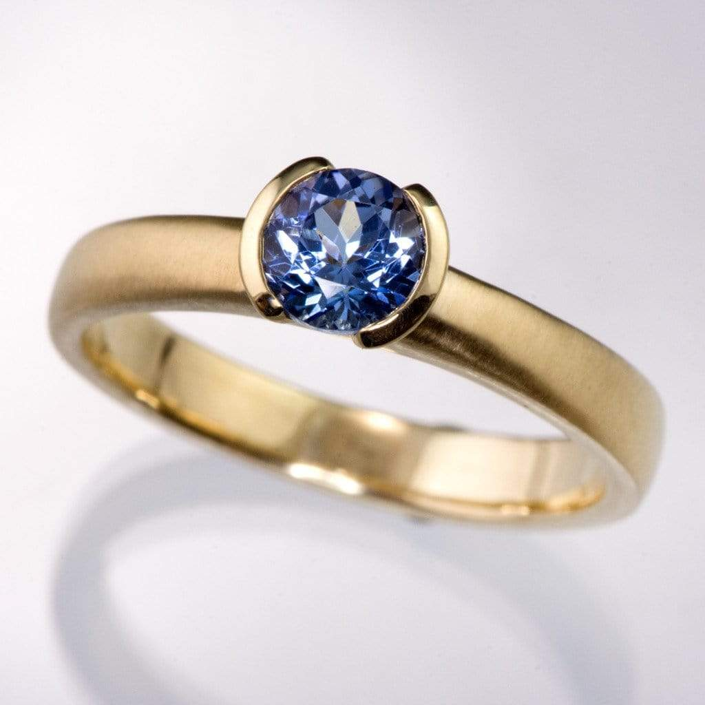 Tanzanite Half Bezel Solitaire Engagement Ring - by Nodeform