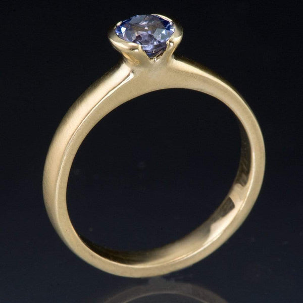 Blue Tanzanite Half Bezel Solitaire Engagement Ring