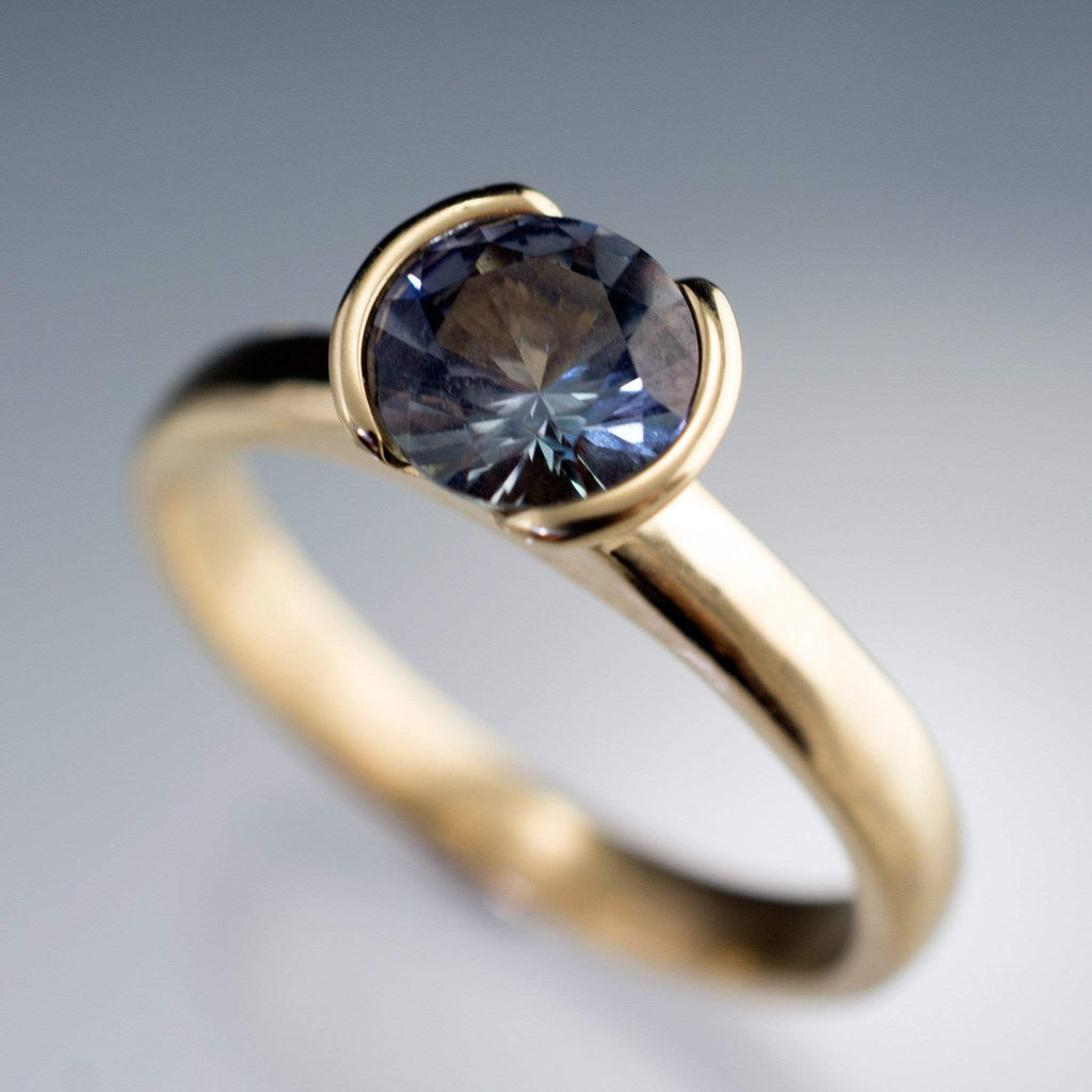 halo shop ring cut gold rings white deep artworks fine tanzanite pear trencheff blue engagement