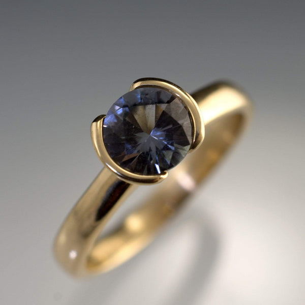 Large Tanzanite Half Bezel Engagement Ring - by Nodeform