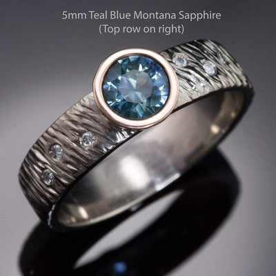 Fair Trade Round Teal Montana Sapphire & Diamonds Accents Rasp Textured Engagement Ring - by Nodeform